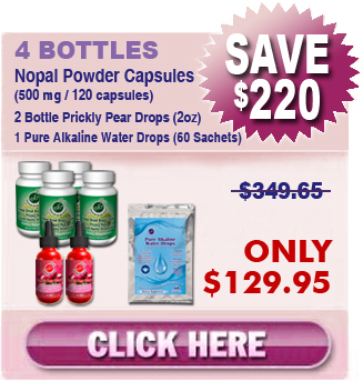 Existing Client Special - 4 Bottles Nopal (120 caps / 500 mg), 2 Bottles Prickly Pear Drops (2 oz), 1 Pure Alkaline Water Drops (60 Sachets)