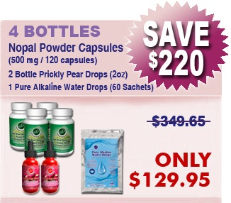 Natural Home Cures Freeze Dried Nopal Powder Capsules 4 Bottles & 2 Bottles Prickly Pear Drops & 1 Package Pure Alkaline Water Drops